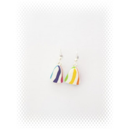 Boucles berlingot multicolore en fimo attache en acier inoxydable