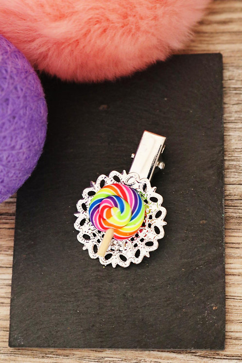 Barrette sucette lolipop multicolore fimo artisanale pince bonbon sucrerie