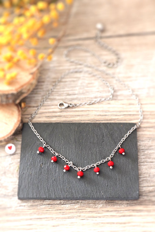 Collier tour de cou Perlita acier inoxydable argenté et perles rouges