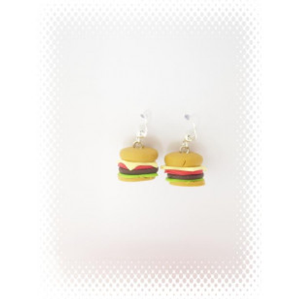Boucles hamburger fimo attache en acier inoxydable