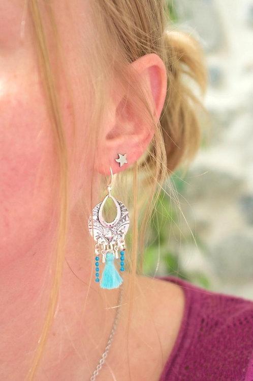 """Boucles d'oreilles """"Népal"""" bleu ciel pendante artisanale ethnique boho gypsy"""