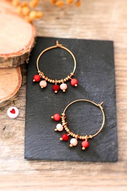 Créoles  boucles Perlita acier inoxydable doré et perles rouges