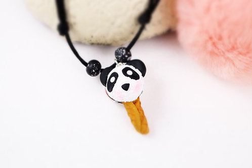 Collier enfant glace panda fimo artisanal gourmand