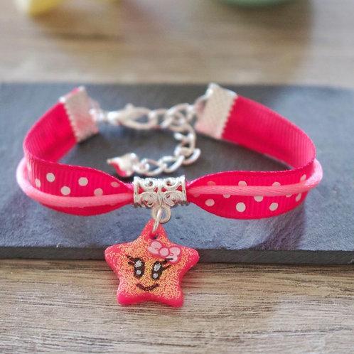 Bracelet enfant rose étoile pailletée en fimo fait main