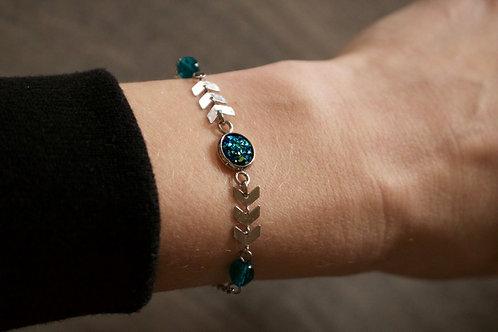 Bracelet Gypsy acier inoxydable bleu/vert réglable fait main