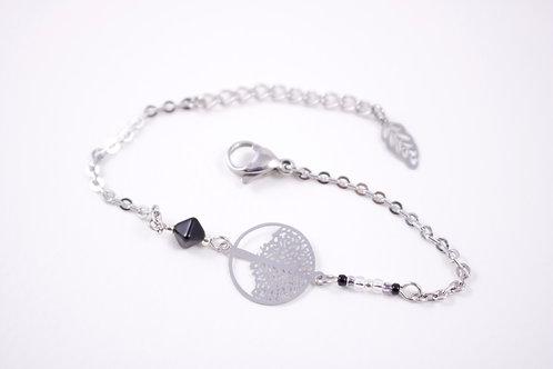 Bracelet acier arbre de vie noir filigrane réglable inoxydable bohème