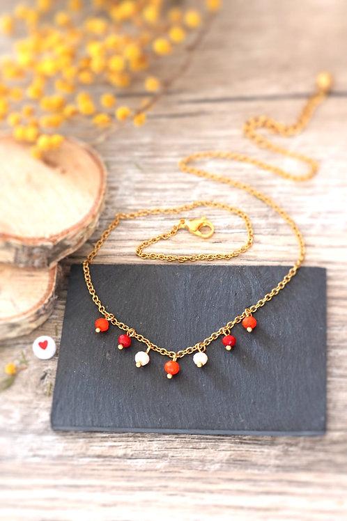 Collier tour de cou Perlita acier inoxydable doré et perles en verre réglable