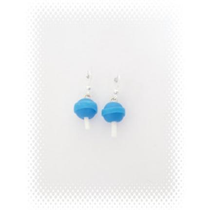 Boucles sucette chupa bleu en fimo attache en acier inoxydable