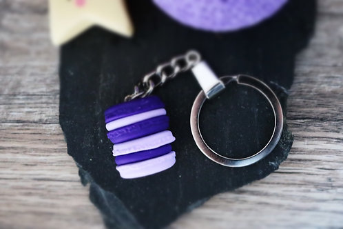 Copie de Porte clés duo macarons violet fimo artisanal bijou gateau