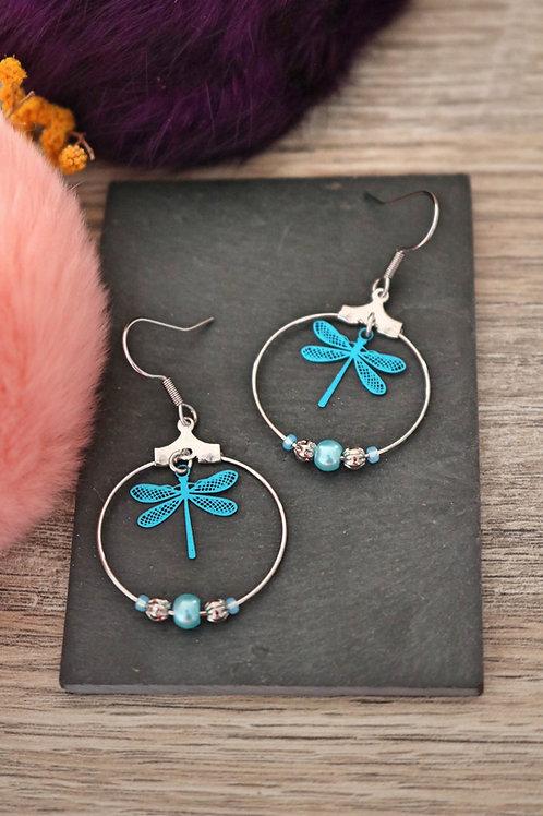 Boucles d'oreilles créoles libellules filigranes bleues attaches acier inox