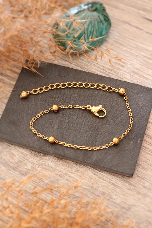 Bracelet acier inoxydable doré chaine billes réglable