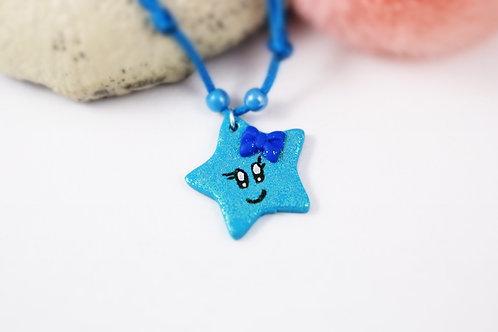 Collier enfant étoile pailletée bleue fimo artisanal fille