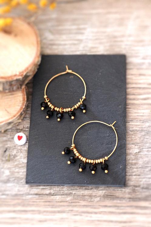 Créoles  boucles Perlita acier inoxydable doré et perles noires