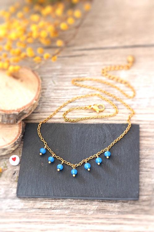 Collier tour de cou Perlita acier inoxydable doré et perles bleues