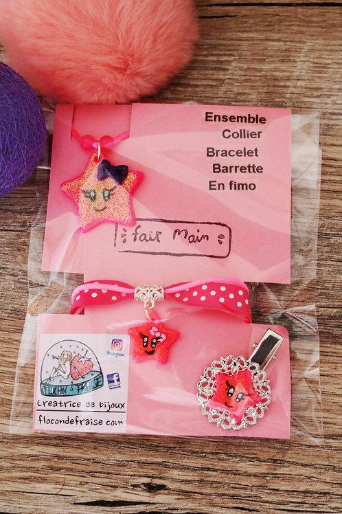 Etoile pailletée rose kawaii en fimo collier bracelet barrette artisanal