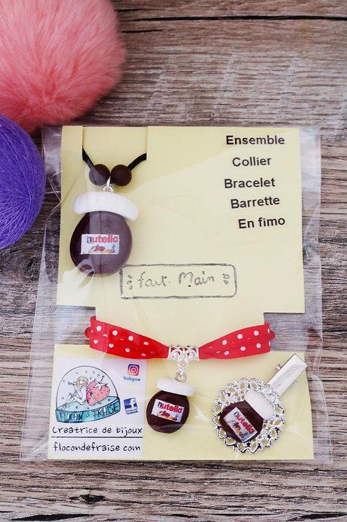 Parrure Nutella en fimo collier bracelet barrette artisanal