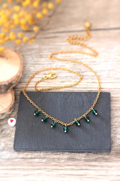 Collier tour de cou Perlita acier inoxydable doré et perles vert émeraude