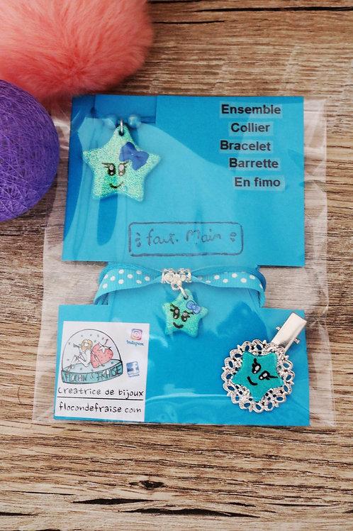 Parrure Etoile pailletée bleue en fimo collier bracelet barrette artisanal
