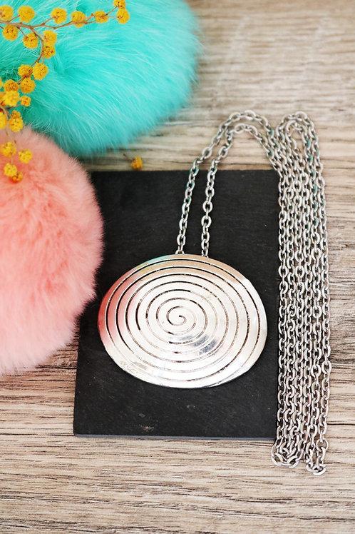 Sautoir/ collier long spirale ovale argenté et sa chaine en acier inoxydable