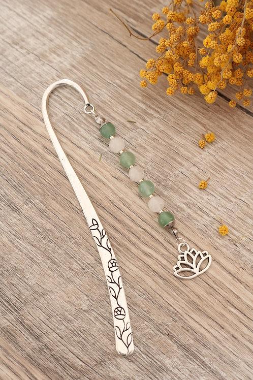 Marque page Aventurine et Cristal de Roche pierres naturelles fait main lotus