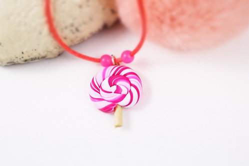 Collier enfant sucette lollipop rose fimo artisanal fille gourmande sucrerie