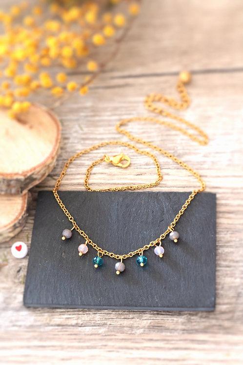 Collier tour de cou Perlita acier inoxydable doré et perles gris, rose et bleu
