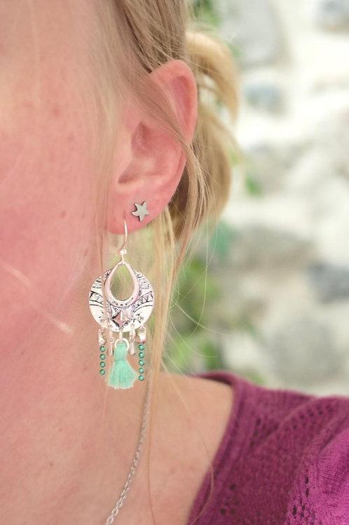 """Boucles d'oreilles """"Népal"""" vert d'eau pendantes artisanales ethnique boho gypsy"""