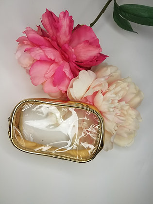 Small Gold Trimmed Clear Cosmetic Bag