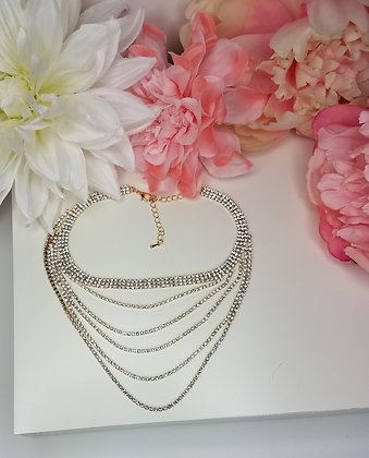 Layered Gold Rhinestone Necklace
