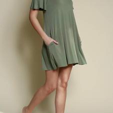 Studio K Bamboo Cold shoulder dress olive