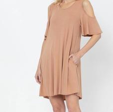 Studio K Bamboo Cold Shoulder Dress Camel