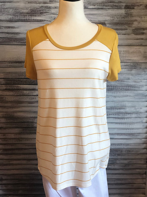 Yellow Veveret Stripe Knit Top