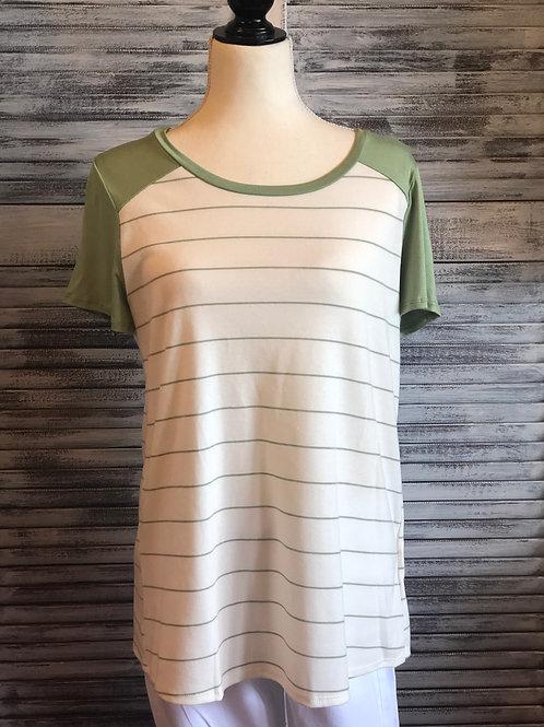 Green Veveret Stripe Top