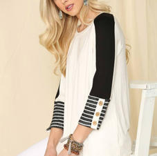 Celeste Stripe Sleeve Top with Button Detail