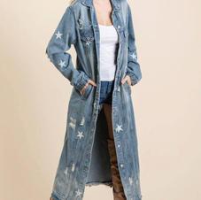Veveret Star Long Denim Jacket