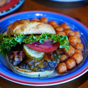 Hickory Burger with Sweet Potato Tots