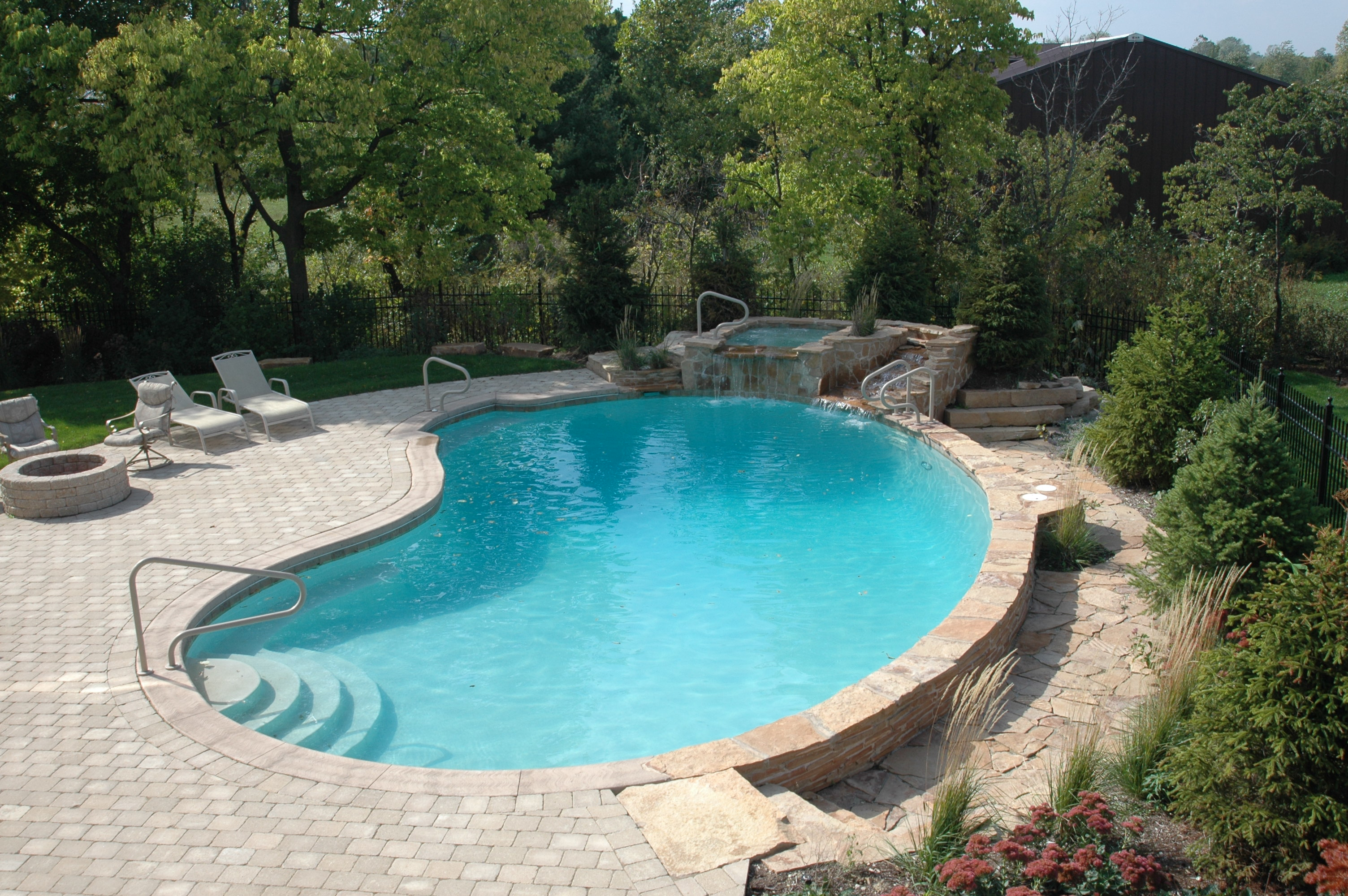 gunite pool spa natural waterfall