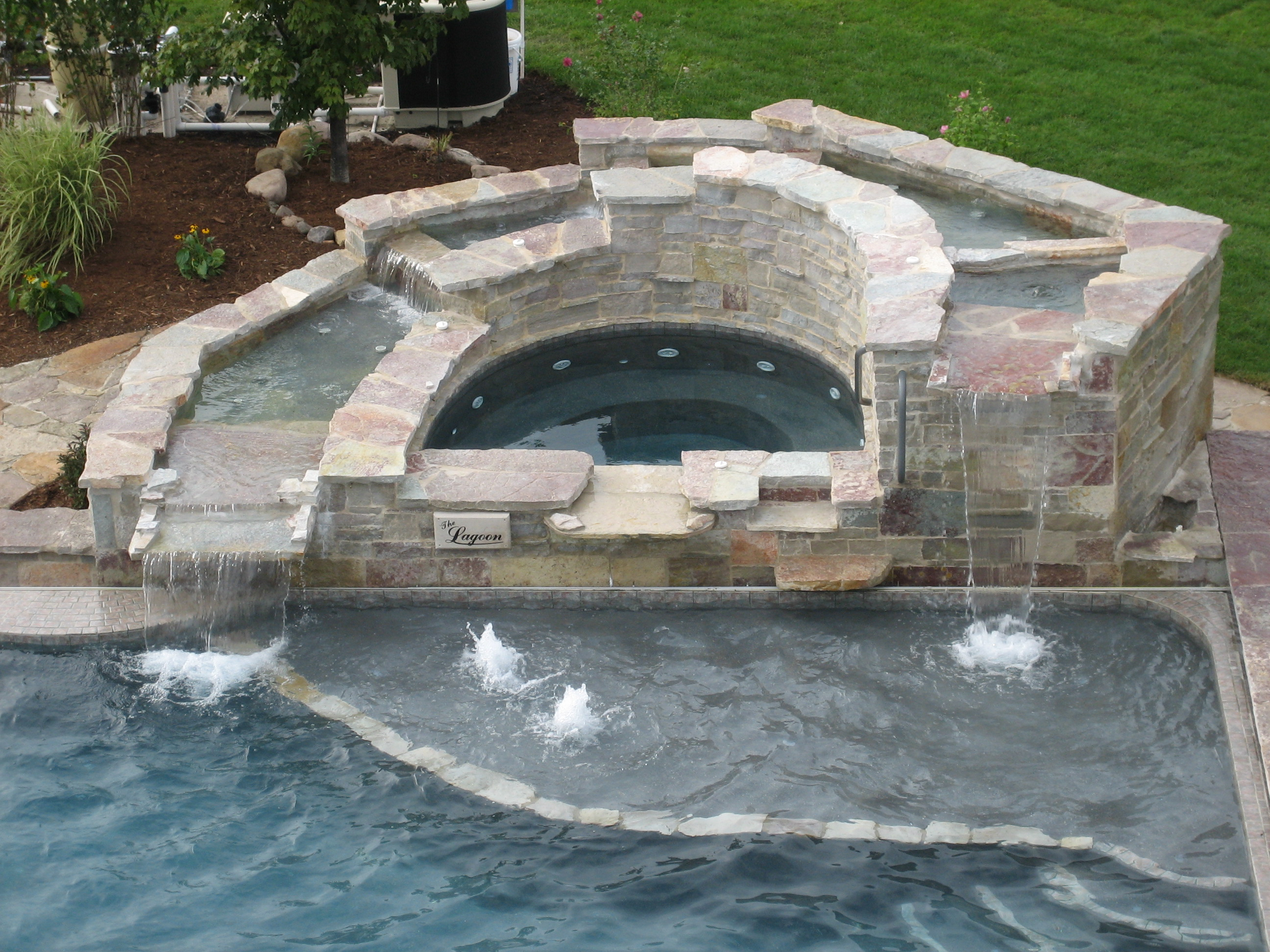 custom waterfall spa builder