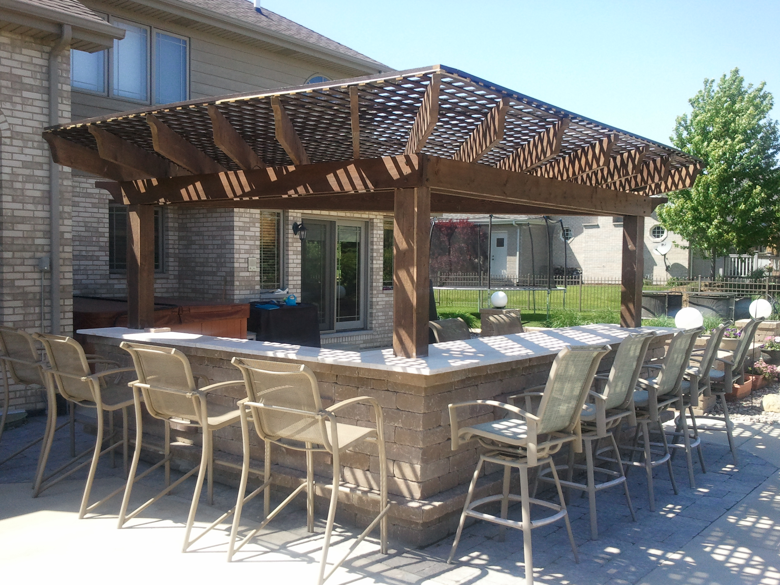 outdoor bar custom pergola