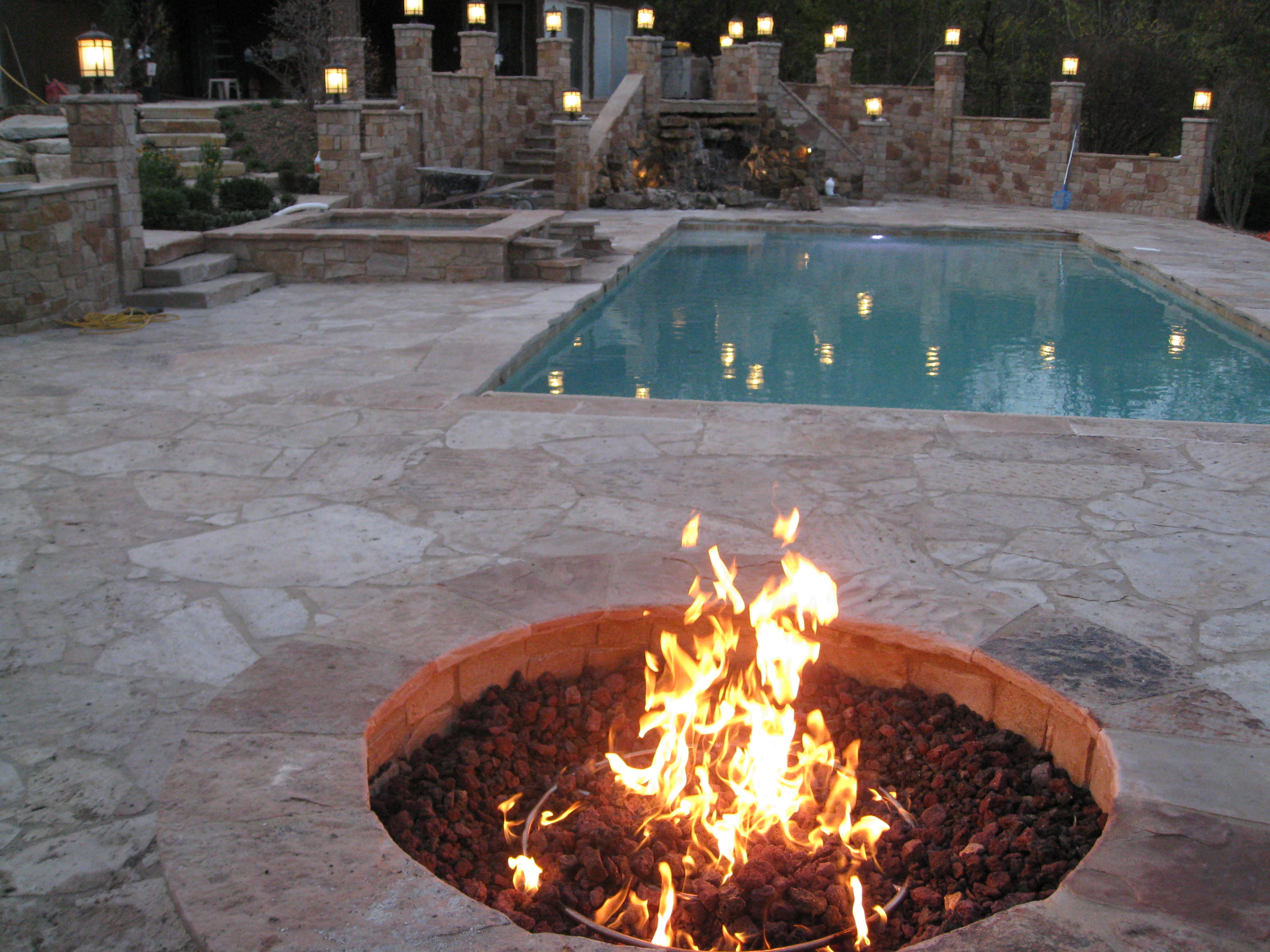 natural gas stone fire pit builder
