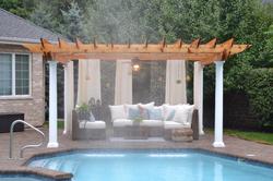 pergola construction with rain fall