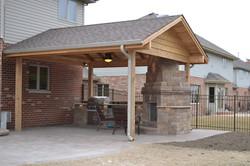 cedar pavilion outdoor fireplace