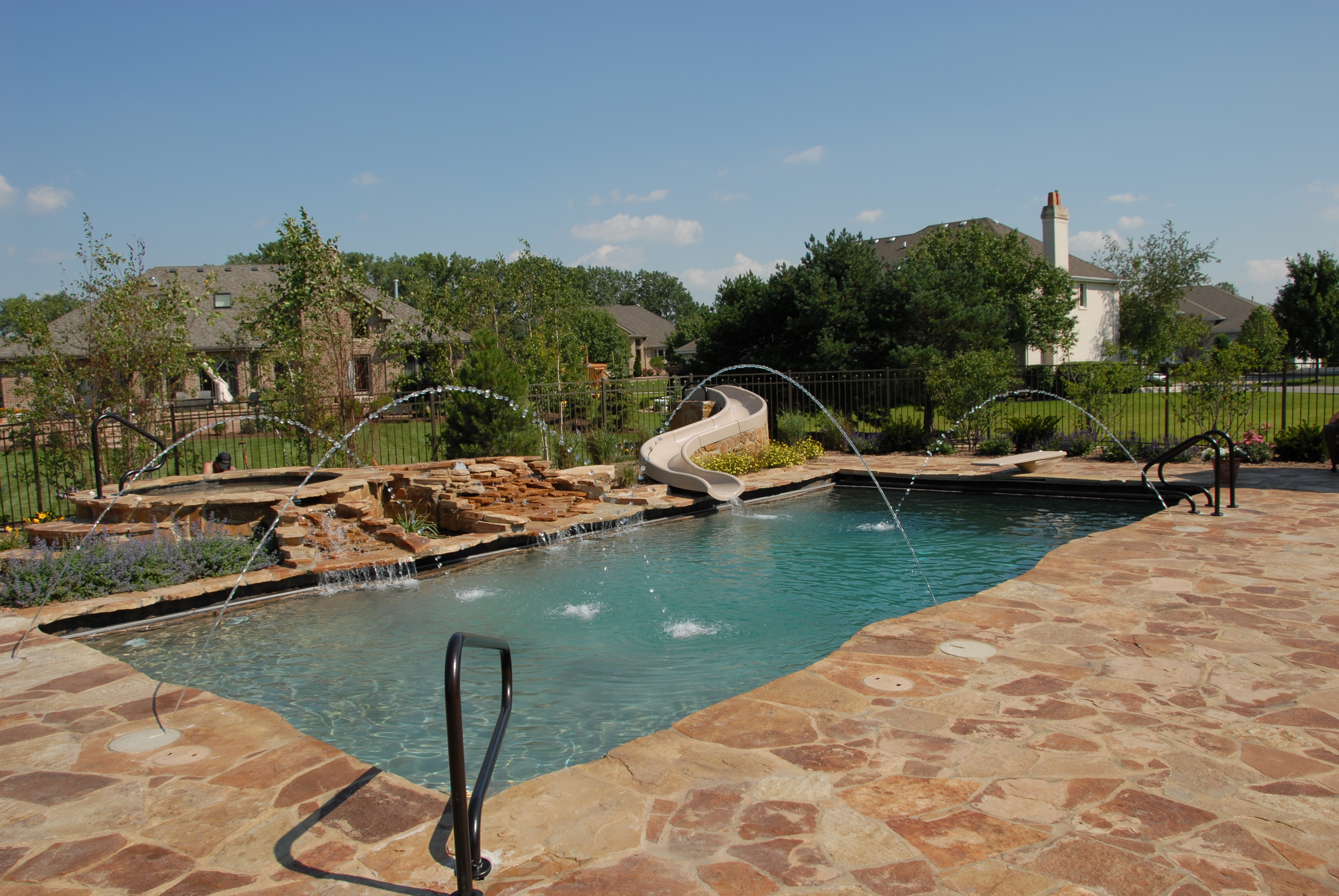 gunite pool spa with custom slide