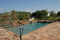 gunite pool spa with custom slide
