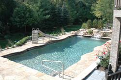 gunite pool natural waterfall