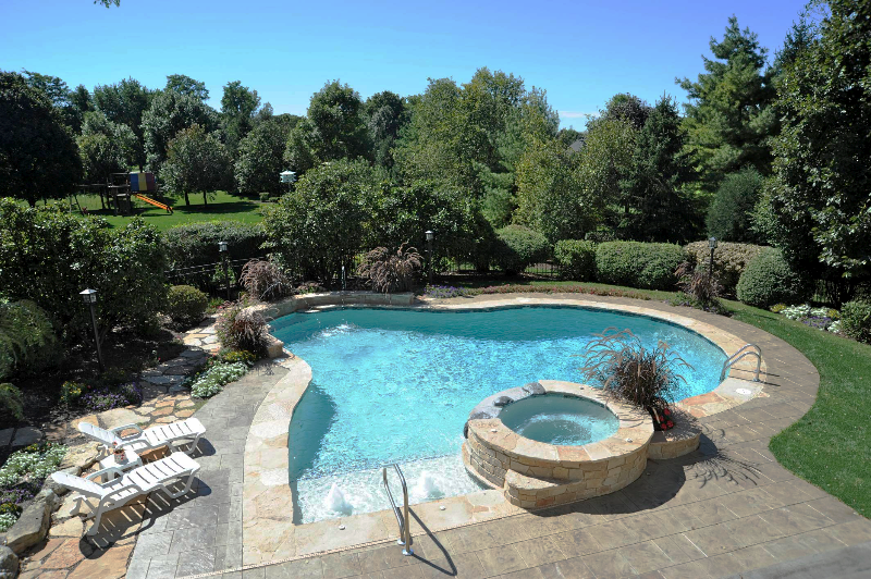 gunite pool and spa