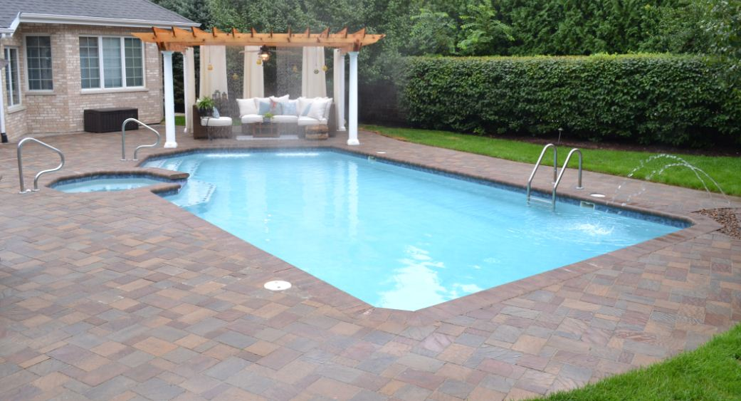 gunite pool and spa pergola