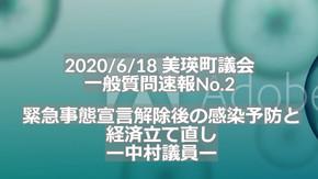 (No.88) 議会レビュー 緊急事態宣言後の感染予防と経済立て直し(一般質問・中村議員)