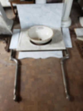 Complete exploded marble sink with apron