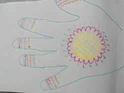 Vibrant coloured hand